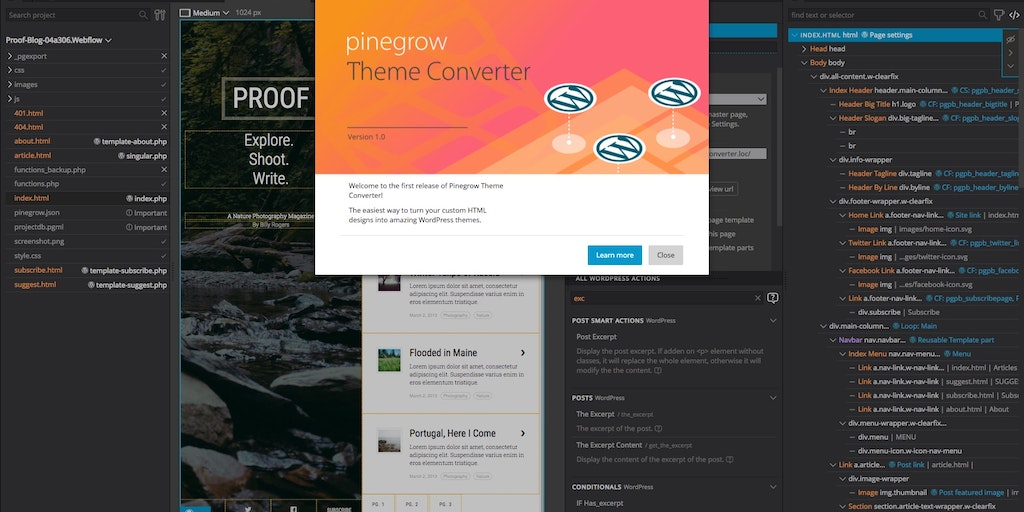 Pinegrow Theme Converter for WordPress - Use your favorite web design tool to create WordPress themes | Product Hunt
