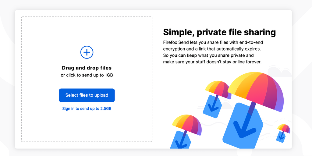 Send by Firefox - Share large files online, encrypted for
