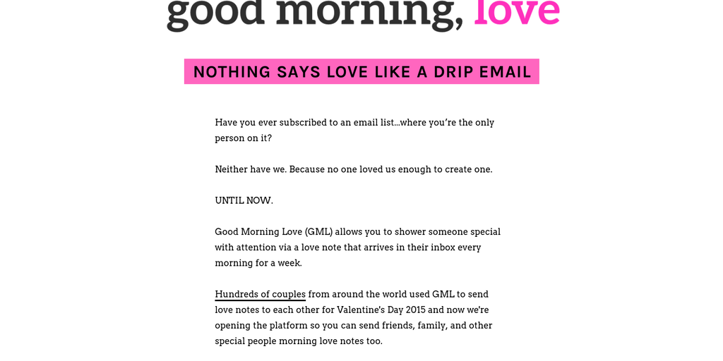 good morning love send a drip email campaign of love notes for valentines day product hunt