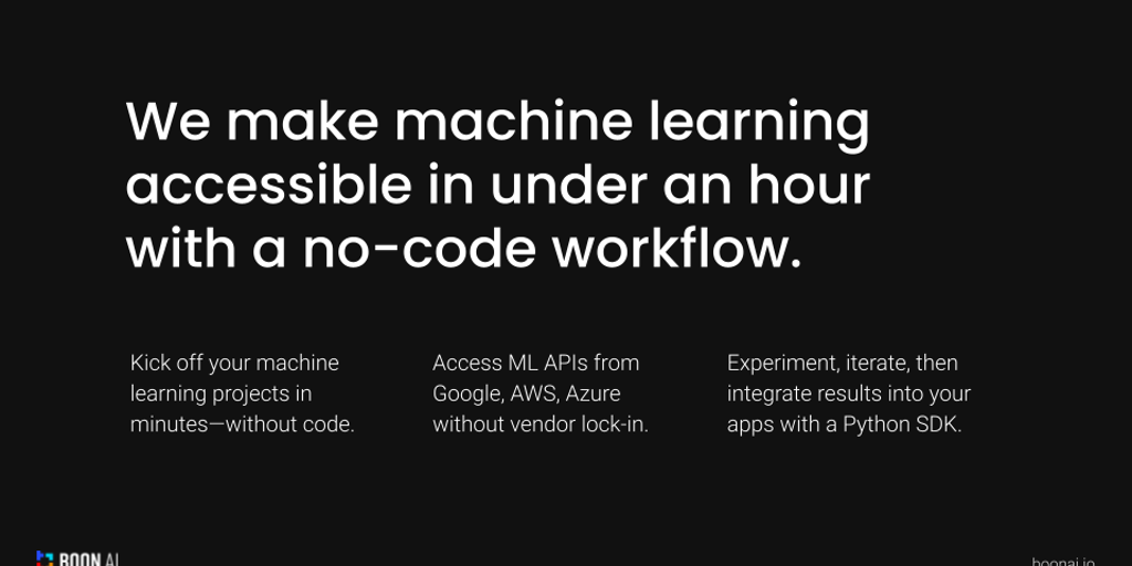 Boon AI - Making ML accessible in under an hour, without code | Product Hunt