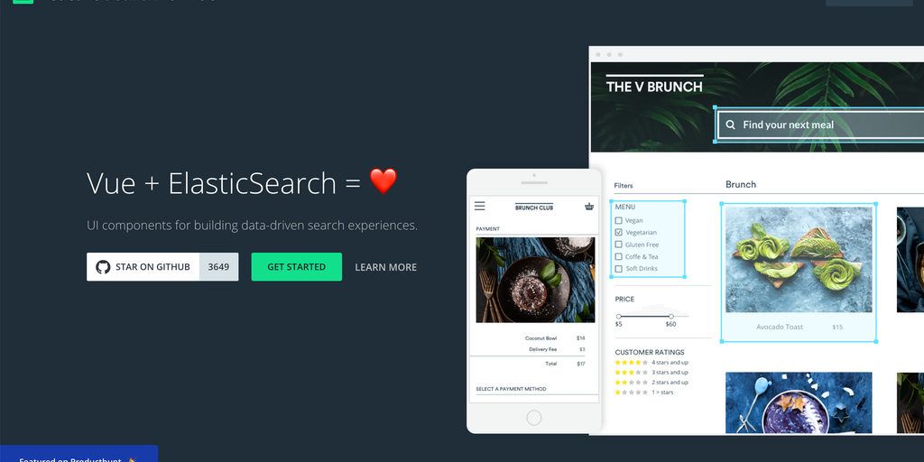 Vue ReactiveSearch - Free, open-source Vue components for building search UIs | Product Hunt