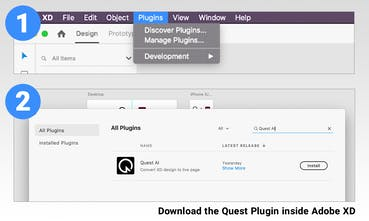 Quest AI plugin for Adobe XD - Convert your XD designs into