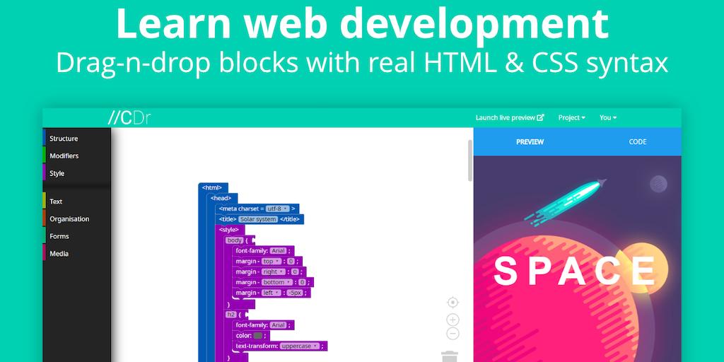CodeDragon - Learn web development with drag-n-drop HTML/CSS blocks | Product Hunt