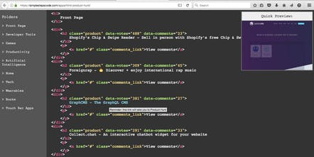 HTML Product Hunt - Product Hunt disguised as HTML code so