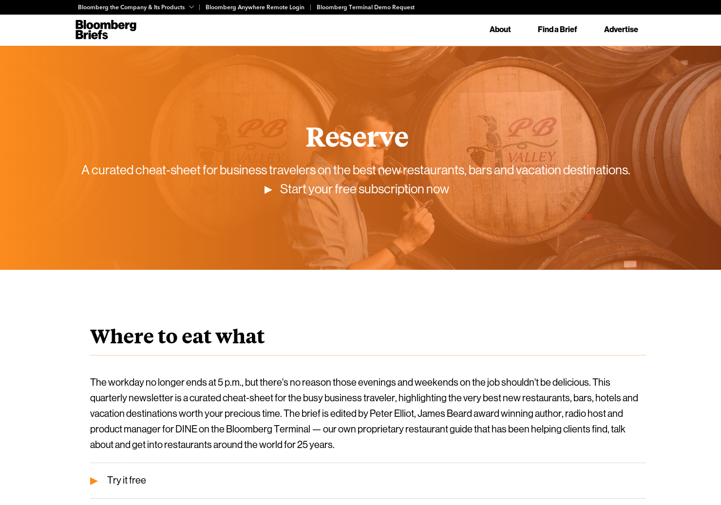 Bloomberg Reserve - Restaurant recs and hospitality industry