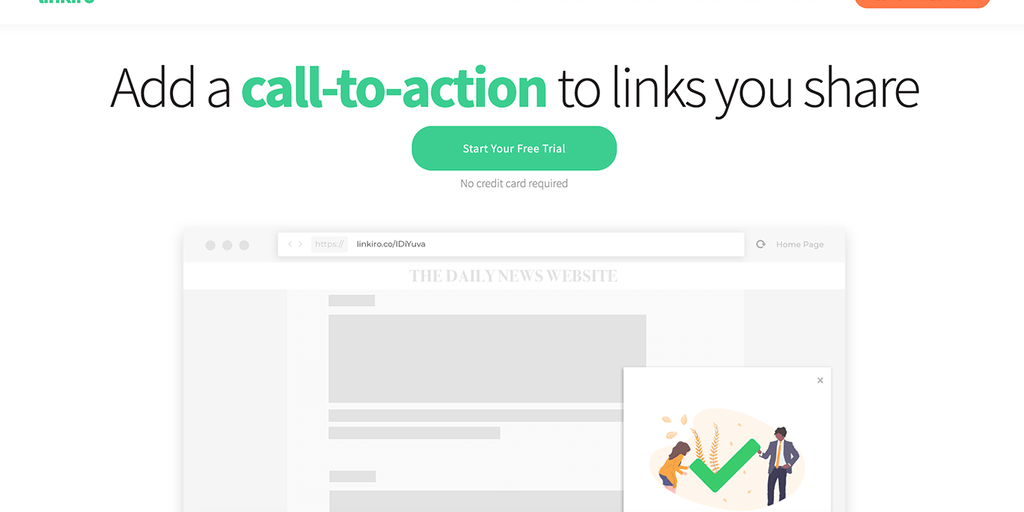 Linkiro - Add a call-to-action to websites you share | Product Hunt
