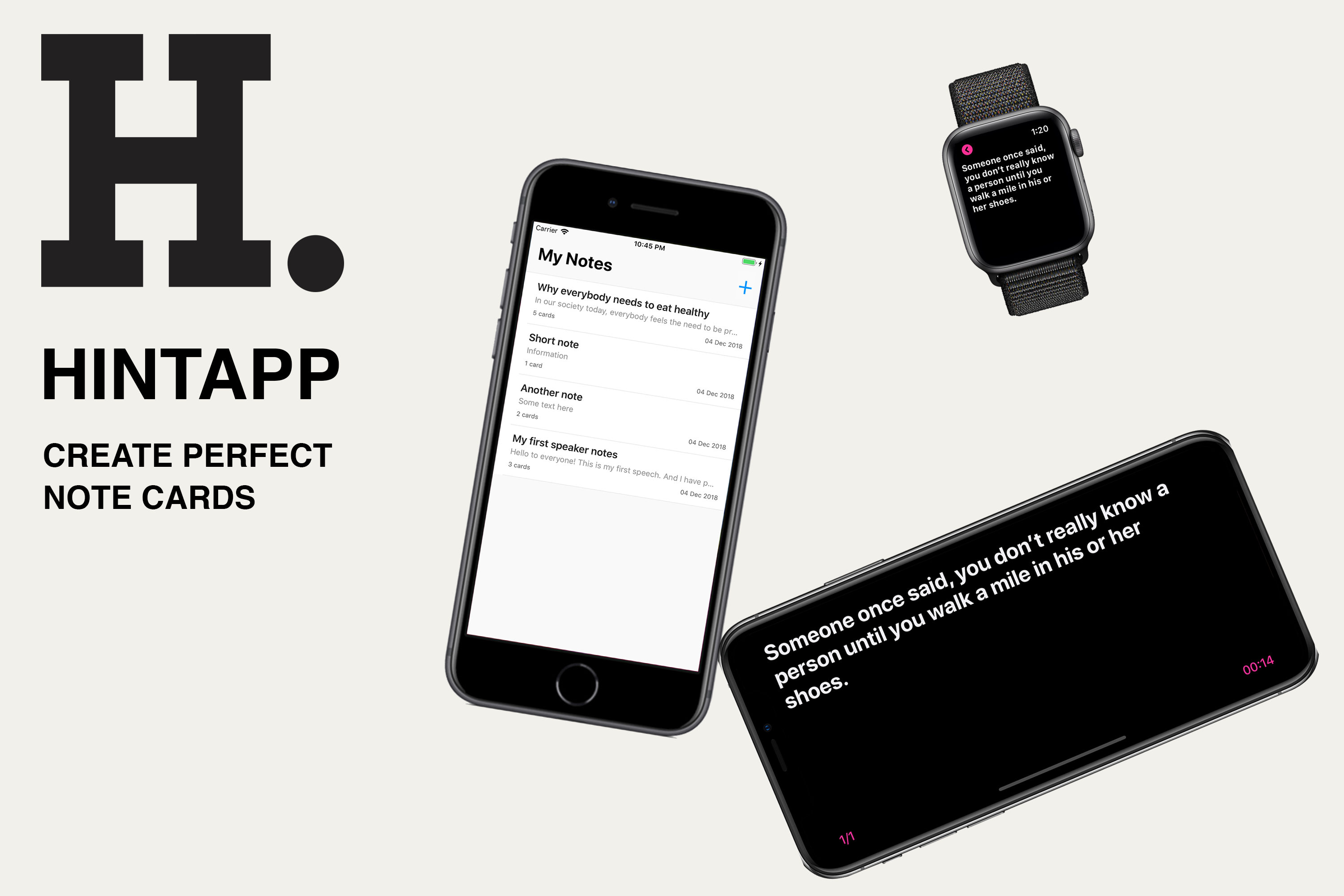 Hintapp - An app for creating perfect note cards (cue cards)