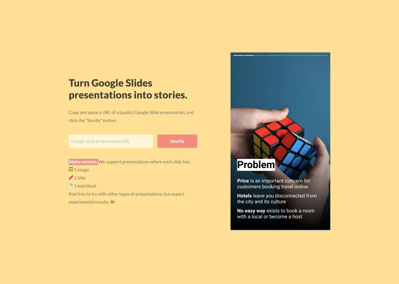 TLDR Stories - Turn Google Slides presentations into shareable stories