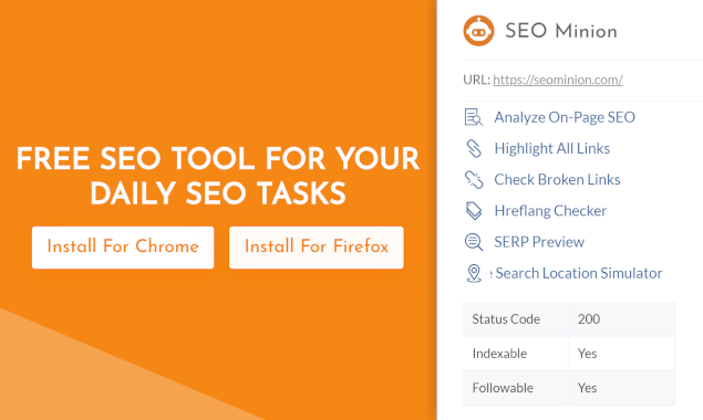 SEO Minion - Chrome extension & Firefox add-on to help you with SEO