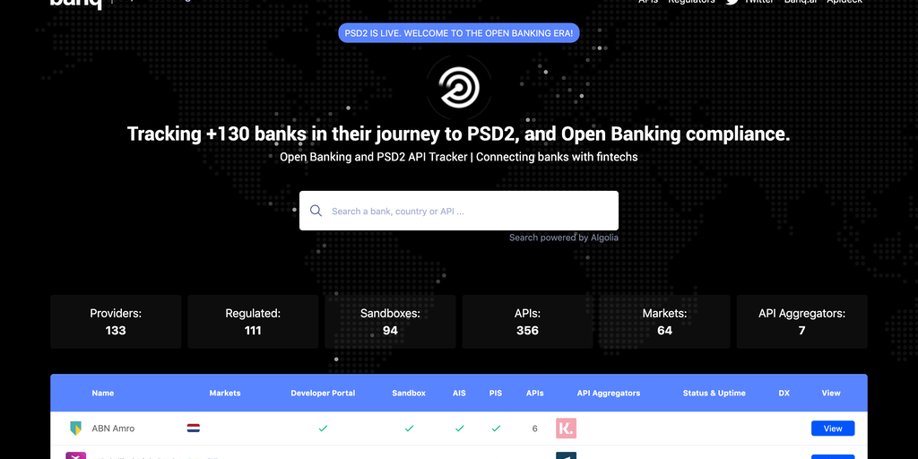 Open Banking API Tracker - Tracking +130 open banking and PSD2 APIs | Product Hunt