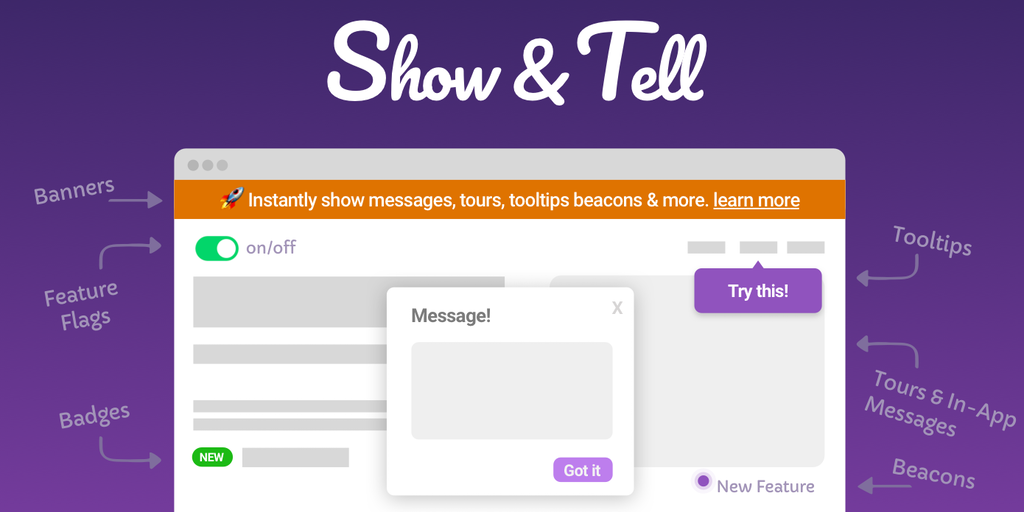 Show & Tell - Tell your users about new features Code free | Product Hunt
