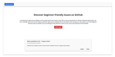 Good First Commit - Discover beginner friendly issues on