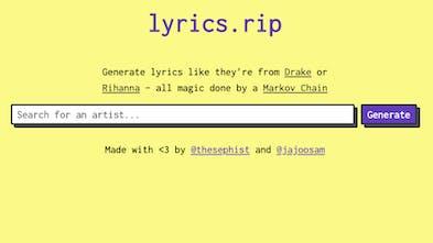 lyrics rip - Generate fake lyrics like they're real