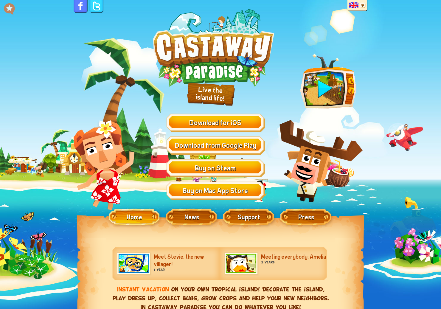 Castaway Paradise - 'Animal Crossing'-like game for the iPhone and