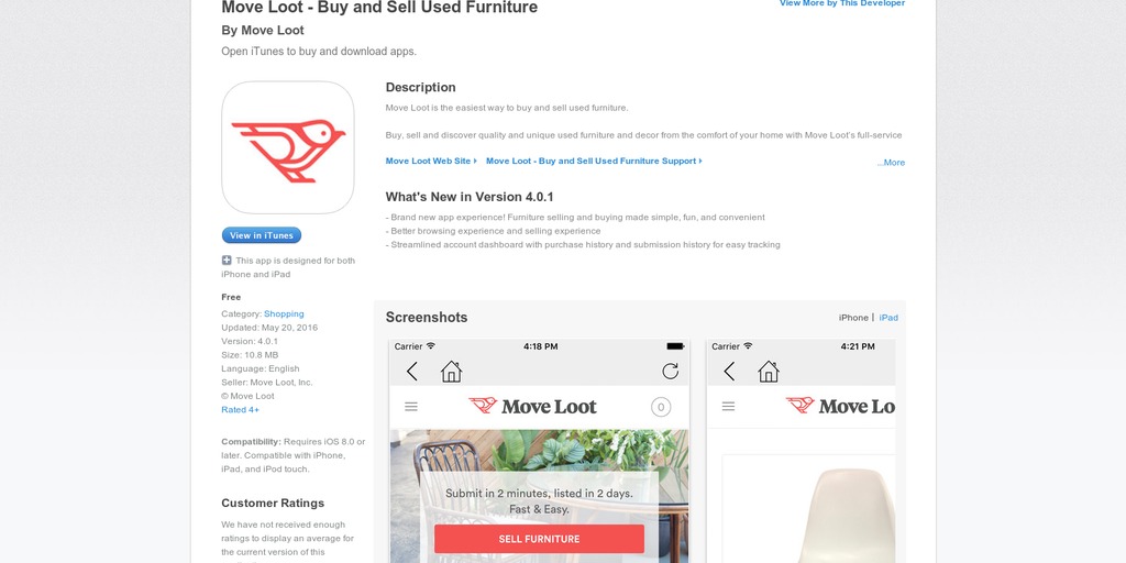 Move Loot Ios App Buy And Sell Used Furniture Now Through Your