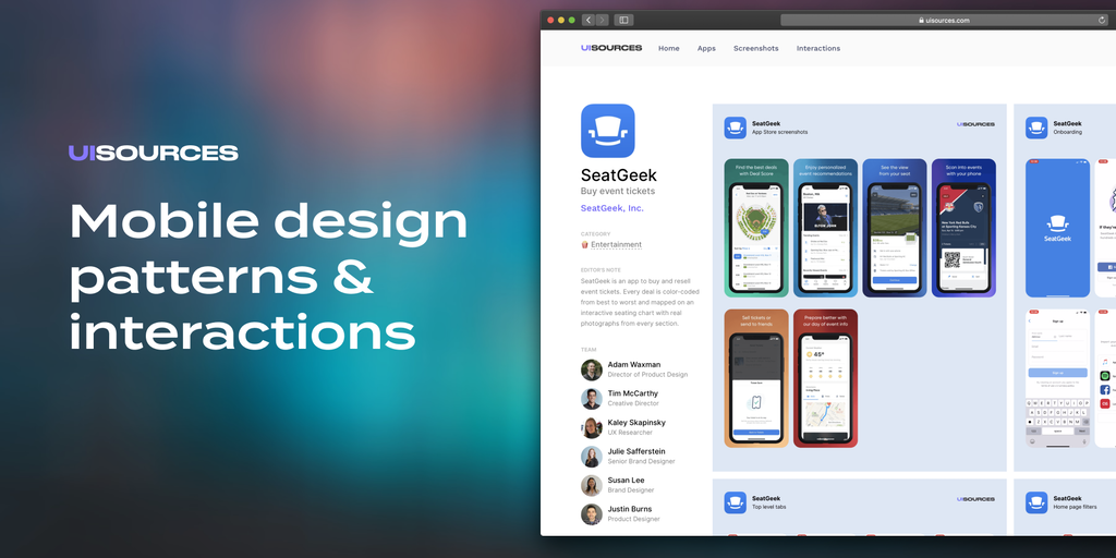 UI Sources - Mobile design patterns & interactions | Product Hunt