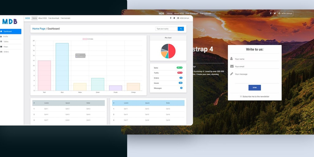 Bootstrap 4 & Material Design Templates - The biggest open