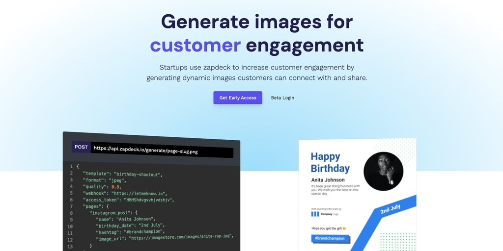 Zapdeck - Generate images for customer engagement | Product Hunt