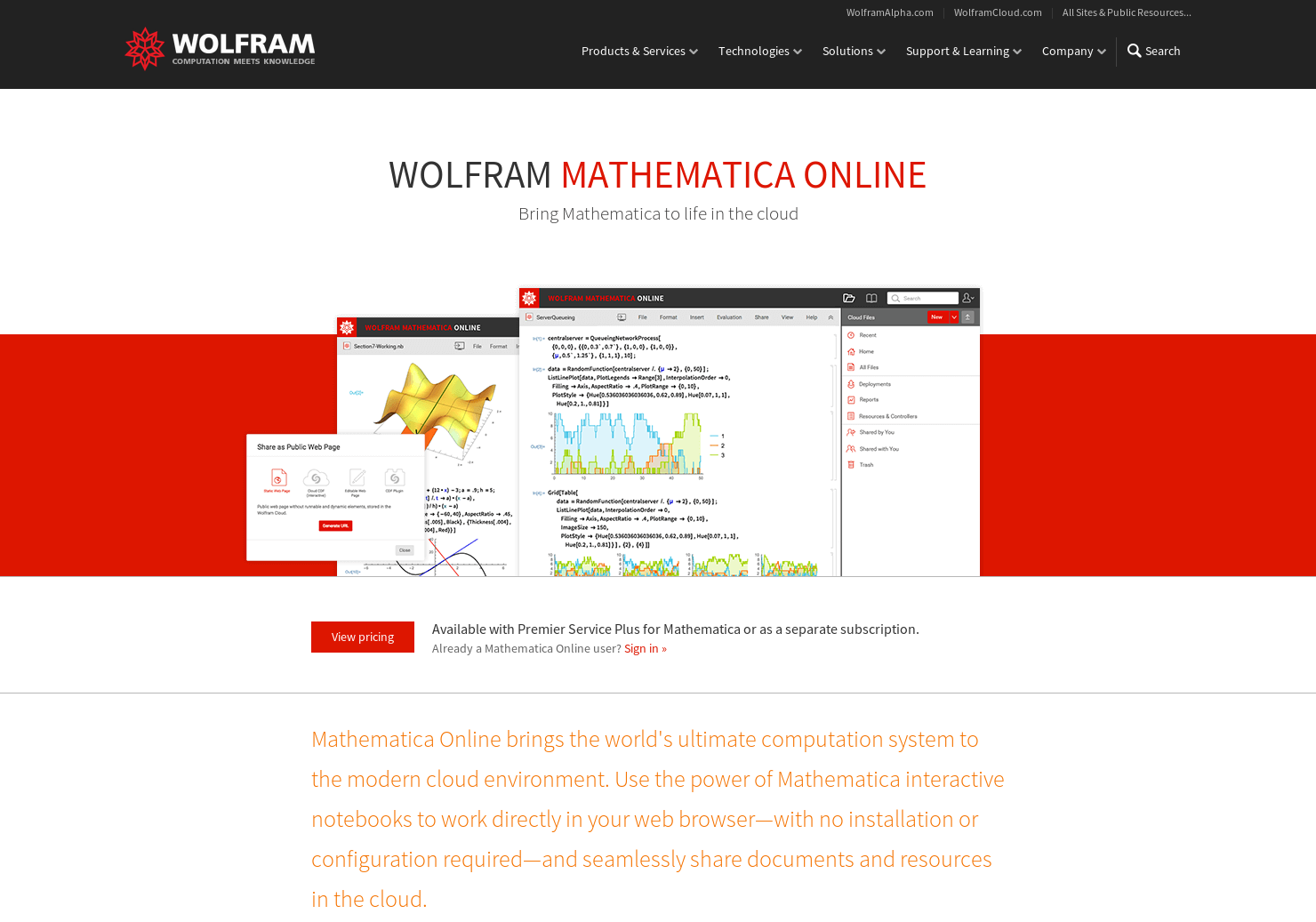 Mathematica Online - Bring Mathematica to life in the cloud