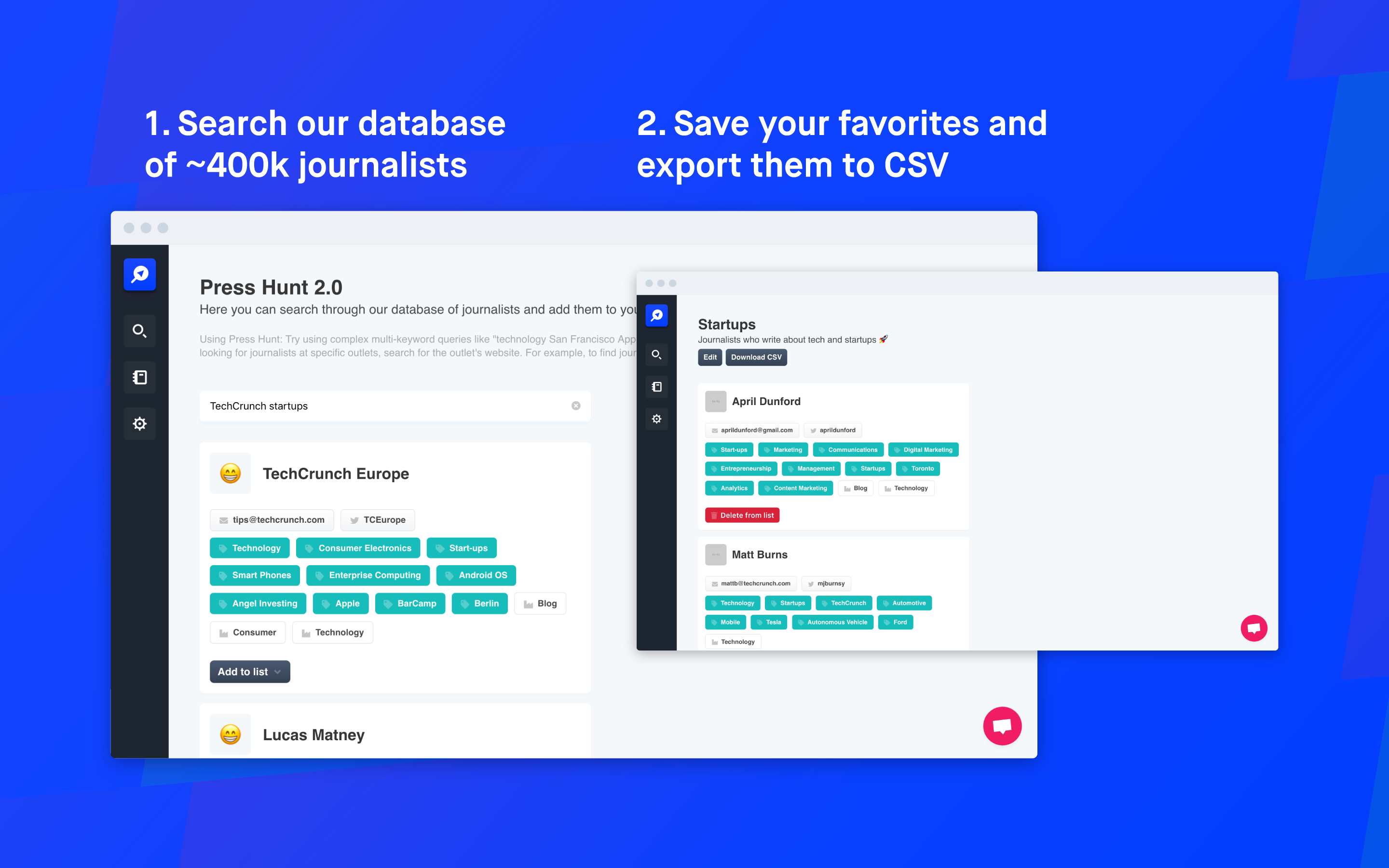 Press Hunt 2.0 - A database of ~400k journalists to feature your business 🤩