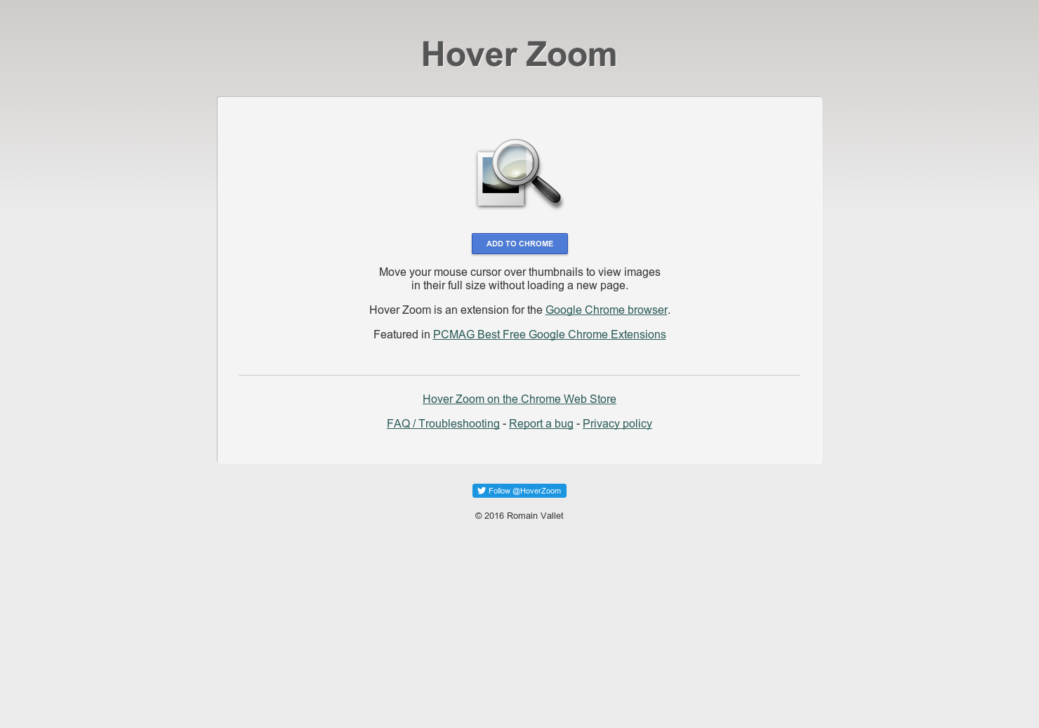 Hover Zoom - View Thumbnail Pictures Without Loading Page