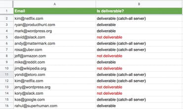 Email Verification for Google Sheets - Run email verification