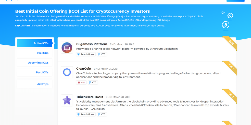 Top ICO List - Best crypto initial coin offering list & ICO