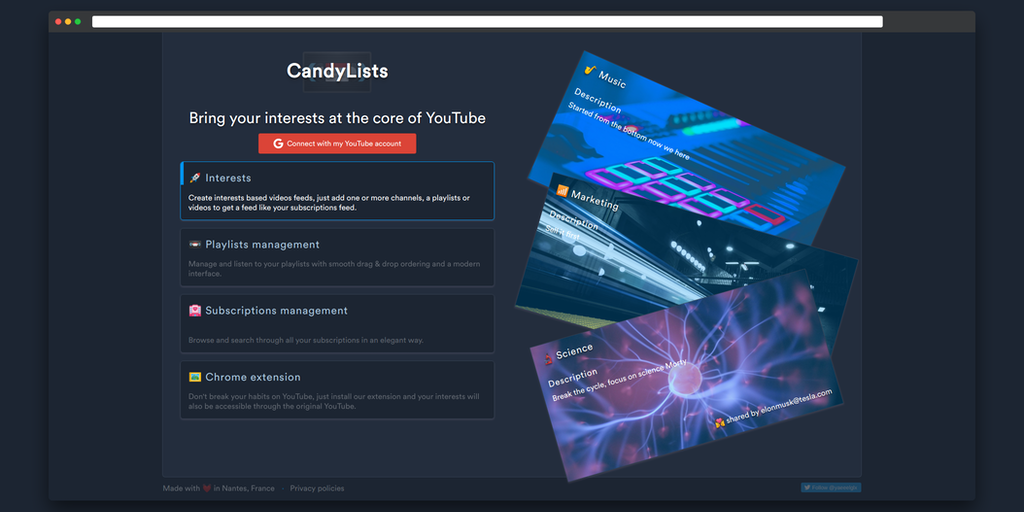 CandyLists - Create interest based YouTube feeds   Product Hunt