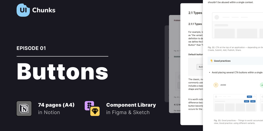 UI Chunks E01 - Buttons - Design system in easy-to-learn chunks & component libraries | Product Hunt