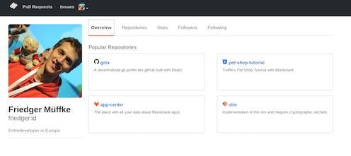 gitix - Decentralized git profiles - like Github but for all