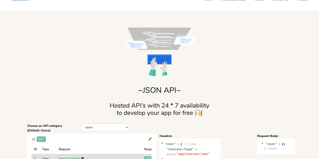 JSON Api - Hosted API's to develop your app for free 🙌   Product Hunt