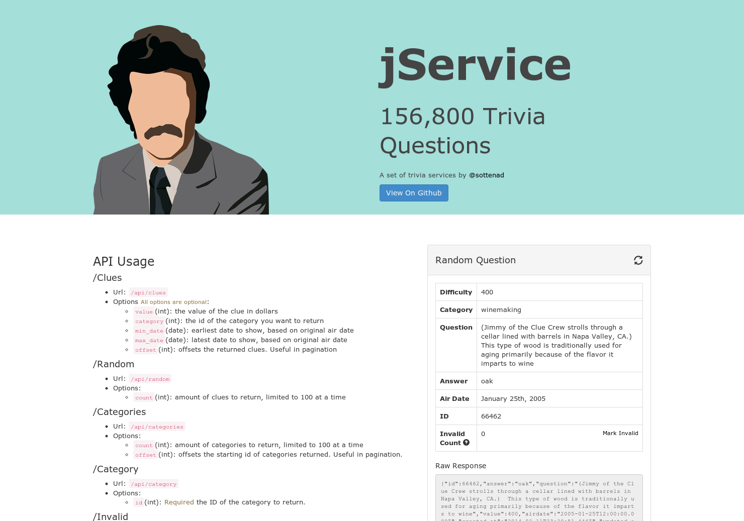 jService - API for Jeopardy Questions | Product Hunt