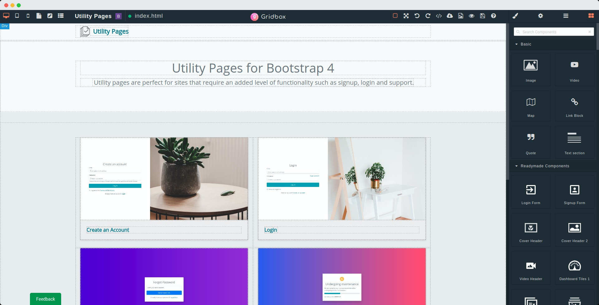 Gridbox v5.0 - Powerful visual bootstrap builder for designers & developers