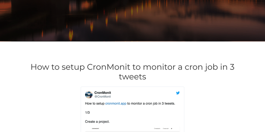 CronMonit - Get notified via email when your cron jobs fail/doesn't run | Product Hunt