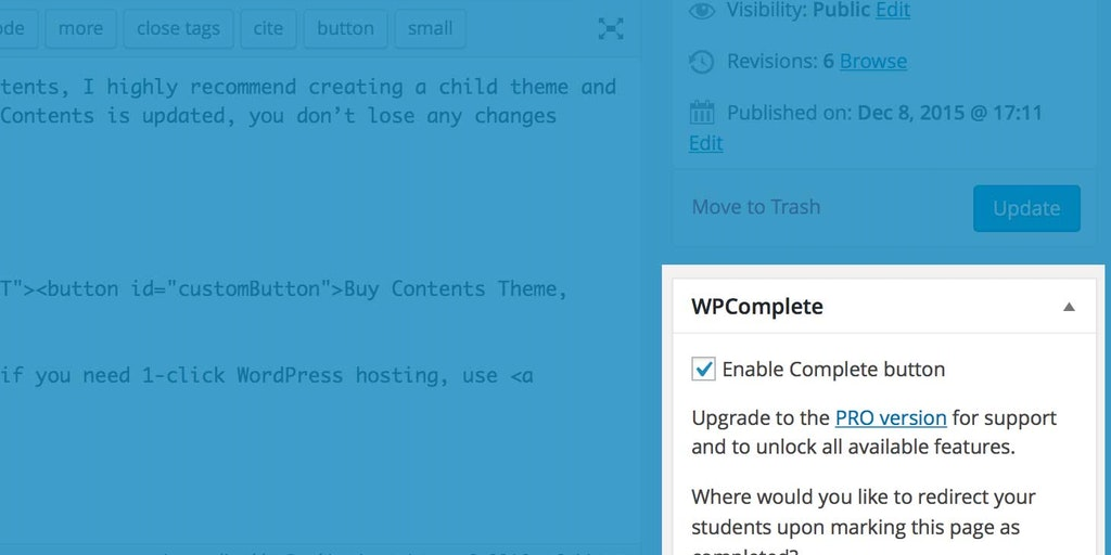 WPComplete - Let students mark pages/posts as complete in