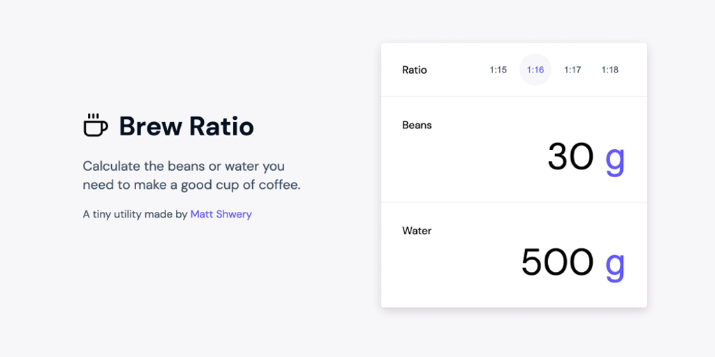 Brew Ratio - A simple coffee calculator to help you brew a great cup | Product Hunt