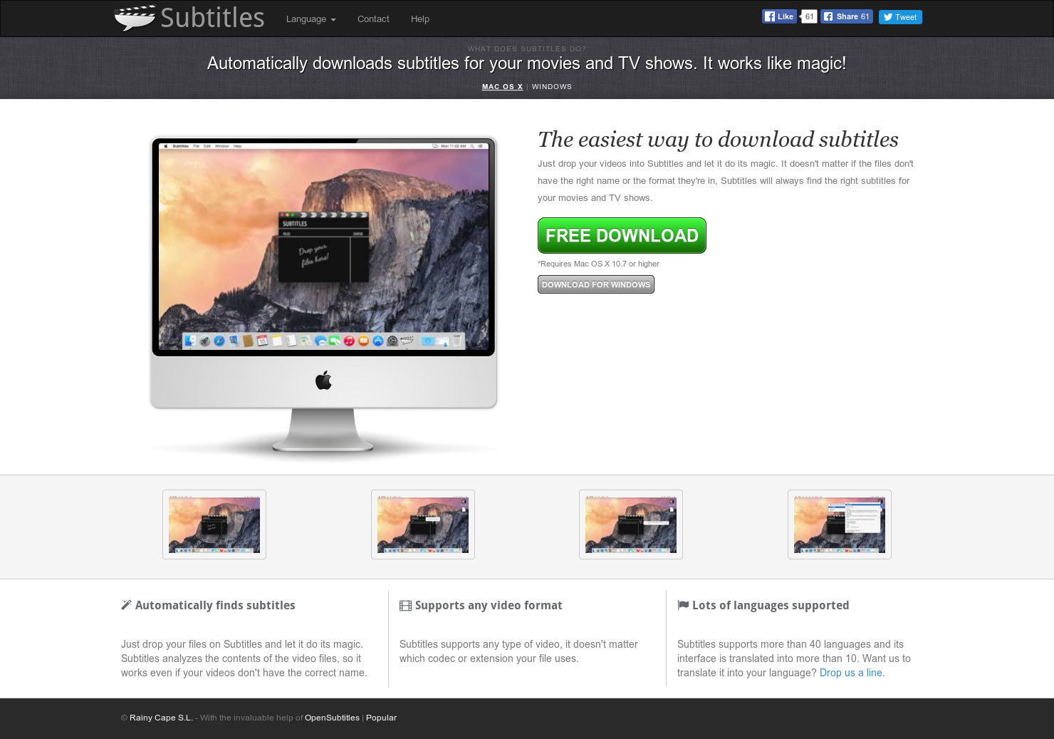 Subtitles - Auto-download subtitles for movie files