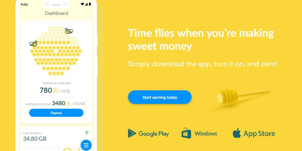 Honeygain - Make money from home by simply sharing your