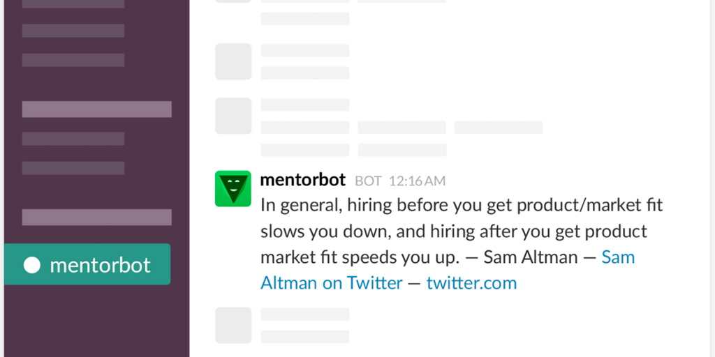 MentorBot - Get actionable entrepreneurial advice in your Slack