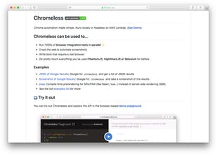 Chromeless - Headless Chrome automation on AWS Lambda