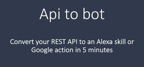 Api to bot - Convert your API to Alexa skill or Google Home app in 5