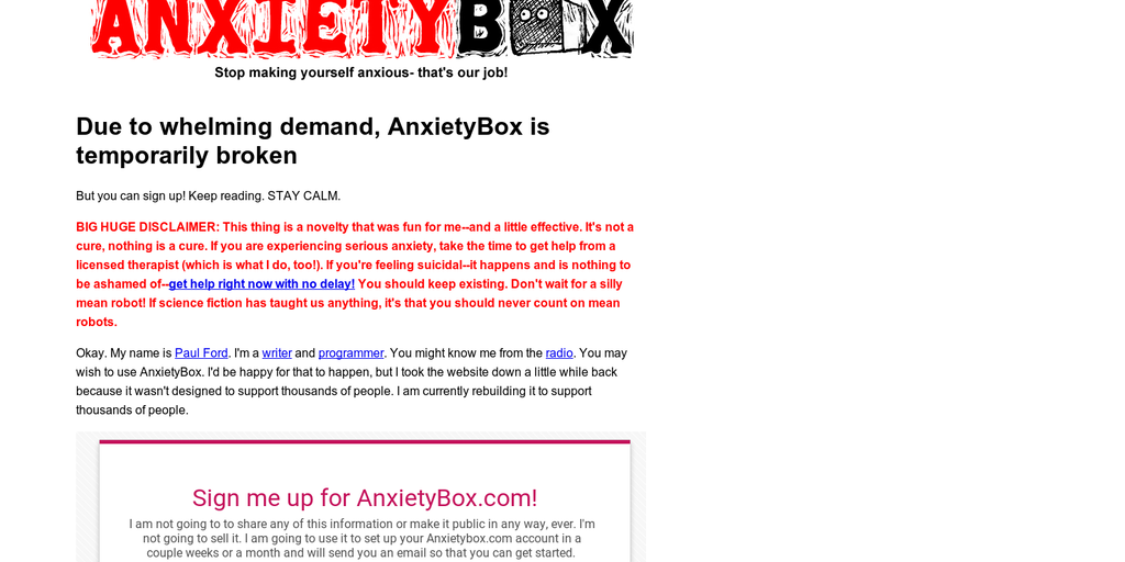 Anxiety Box - An email bot to help reduce self-induced anxiety