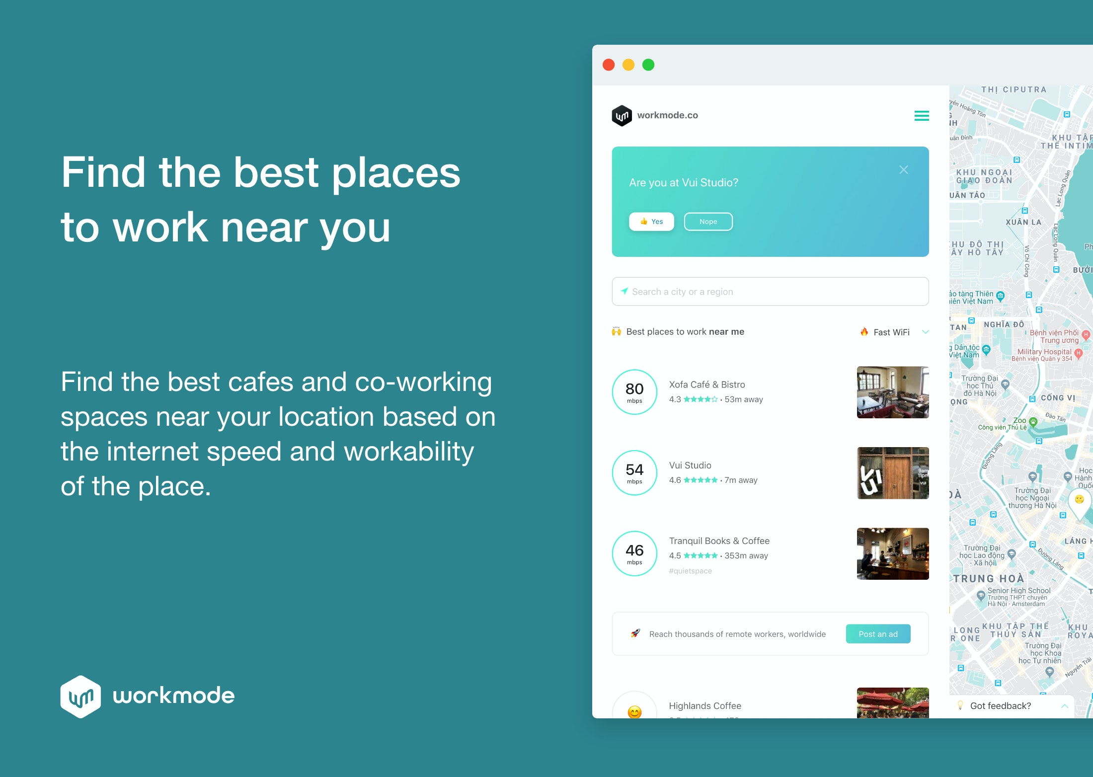 Workmode - Find the best places to work from near you