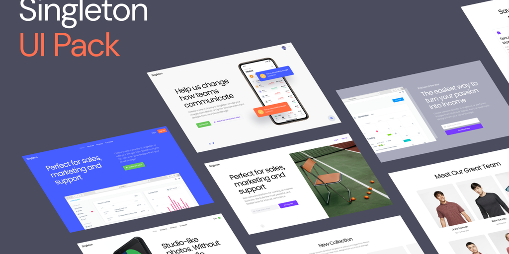 Singleton UI Kit - Stylish and playful layouts for beautiful landings | Product Hunt