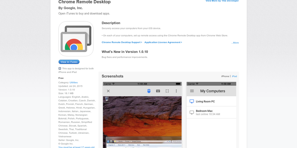 Chrome Remote Desktop - Access your computer from your iOS device