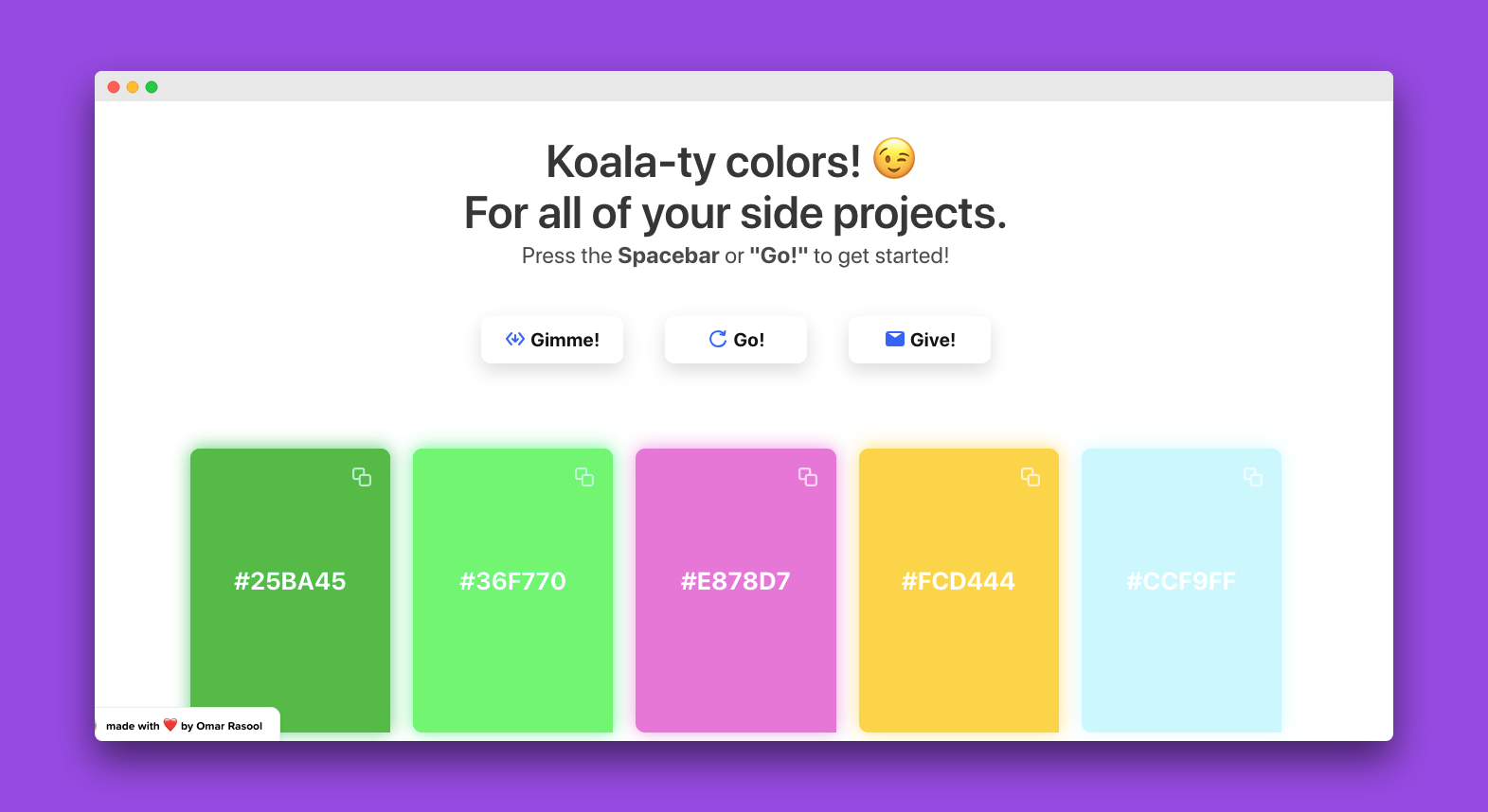 Color Koala - Koala-ty color palettes for all your side projects!