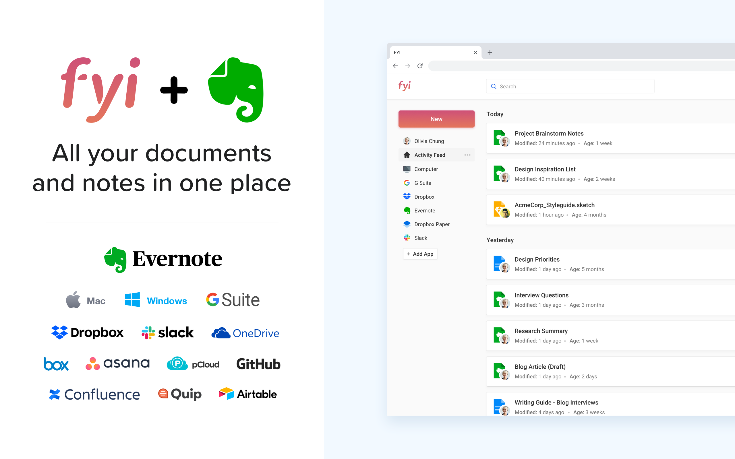 FYI + Evernote - All your documents and notes in one place 👀