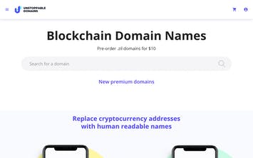 Unstoppable Domains - Domain names on blockchains, get your