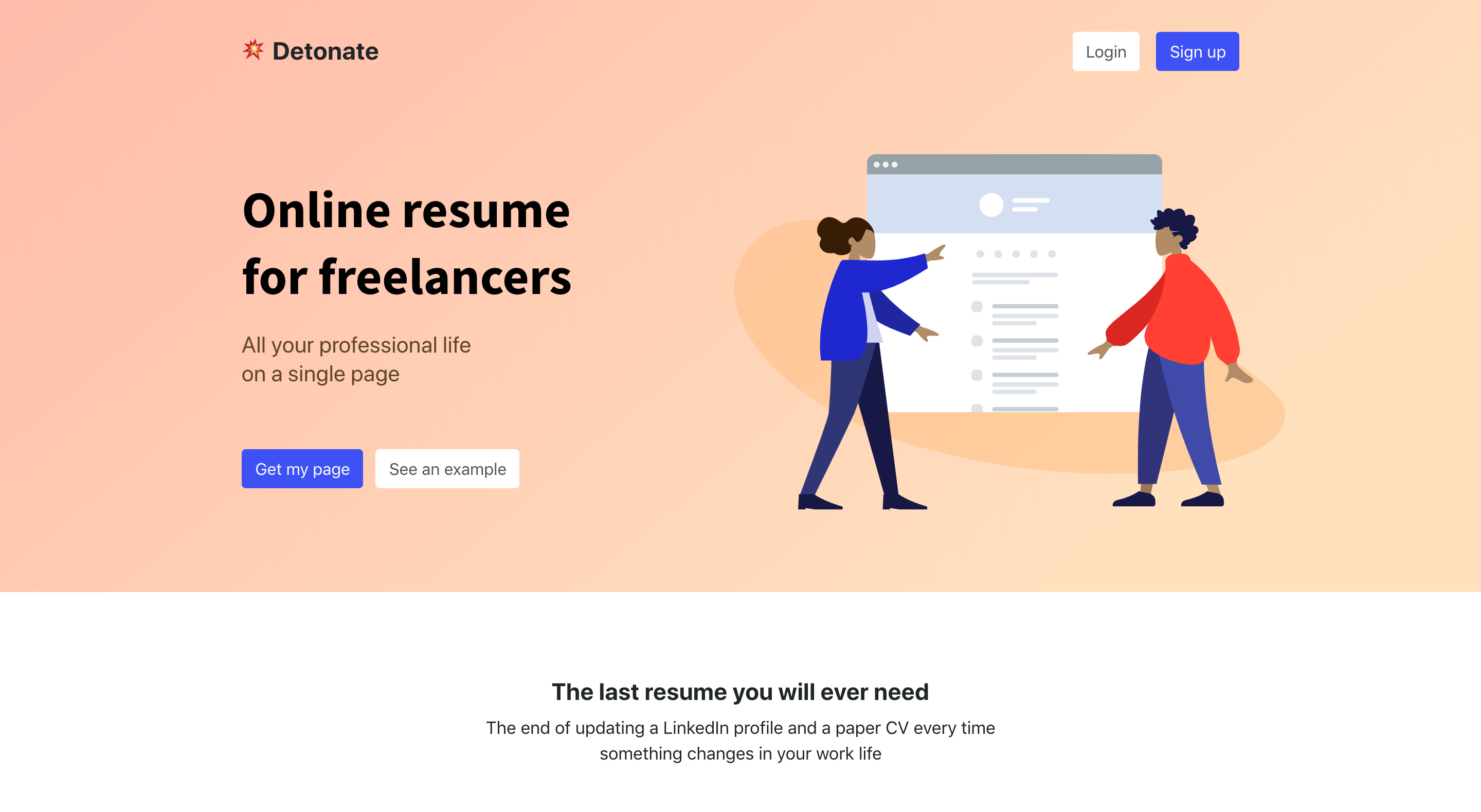 Detonate - Online resume for freelancers