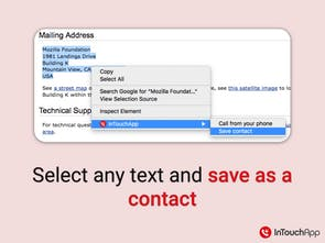 InTouchApp Firefox Extension - Save contacts & data from